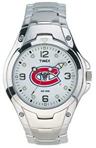 Timex Men's 8A401 Montreal Canadians Officially Licensed NHL Watch Stainless Steel White Dial Watch