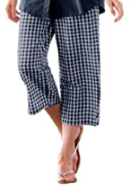 Plus Size Pants, Capri Length In Cotton Seersucker With Comfy Elastic Waist (Dark Navy Check,26 W)