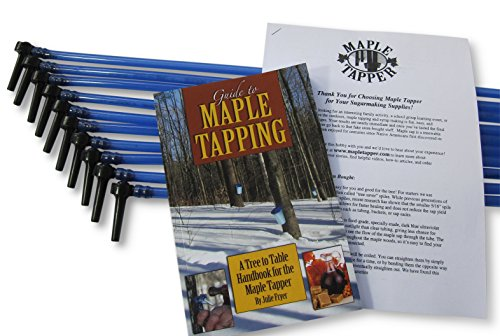 Maple Tree Tapping Kit (Pack of 10) - 5/16 Tree Saver Sap Taps + 3 Ft. Blue Drop Line Tubes, Pre-assembled - Plus 80 Page How to Book