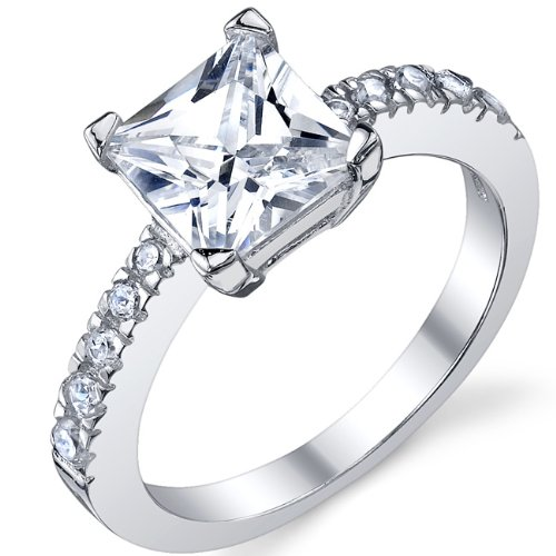 Princess Cut Cubic Zirconia CZ Sterling Silver 925 Engagement, Wedding ...