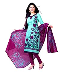Miraan Women's Cotton Unstitched Salwar Suit Dress Material (Sg443 _Blue _Free Size)
