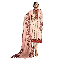 Pulp Mango Media's Exclusive Ethnic Wear Collection of Georgette Heavily Embroidered, Light Pink Unstitched dress materials.