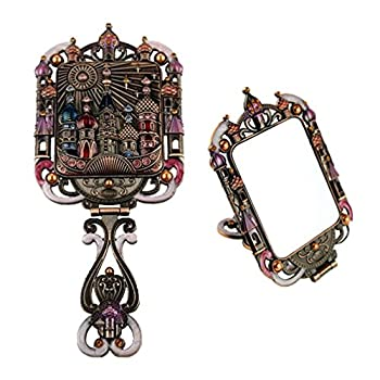 Ivenf Large Size Sun & Castle Vintage Style Foldable Make-Up Metal Hand Mirror, Basso-Relievo Castle Pattern, Bronze & Pink (Manufacturer Discontinued)