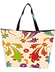 Snoogg Colorful Layered Flowers Designer Waterproof Bag Made Of High Strength Nylon