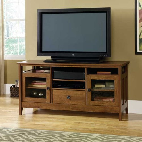 August Hill Entertainment Credenza Oiled Oak Finish