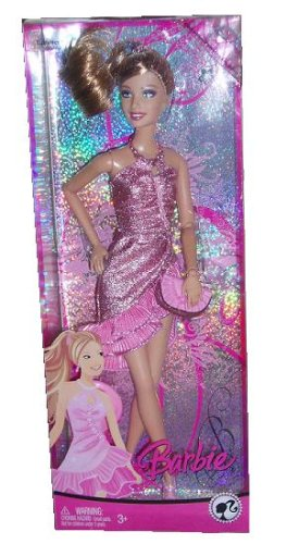 Barbie 2008 Fashion Fever 12 Inch Doll - Summer with Glamour Metallic Pink Halter Party Dress, Purse, High Heel Shoes and Hairbrush Plus Cell Phone Charm For You