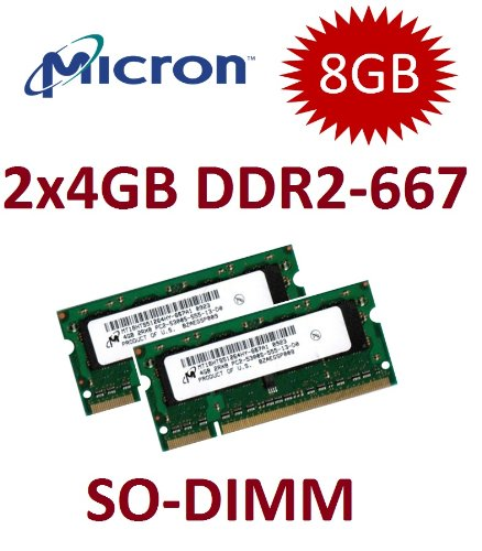 8GB Dual Channel Kit Micron Original 2 x 4 GB 200 pin DDR2-667 SO-DIMM (667Mhz, PC2-5300U, CL5) für DDR2 Notebooks