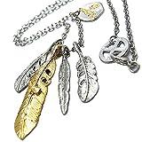 イーグル フェザー 羽 メディスンホイール シルバー & ゴールド 金 color インディアン ジュエリー ネイティブ アリゾナ ネックレス ペンダント チェーン 53cm