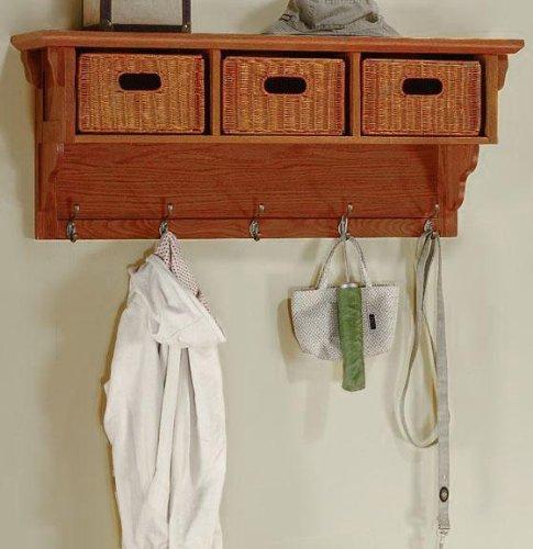 Craftsman Coat Rack With Wicker Baskets, 3-WICKER BASKET, DARK OAK
