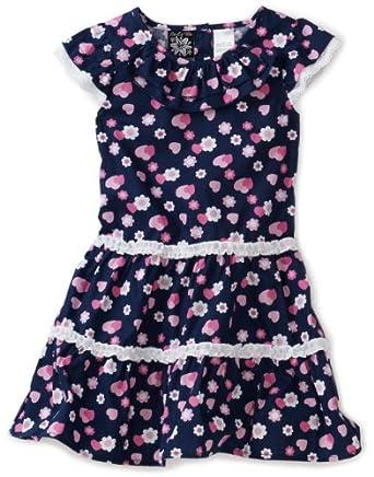 So La Vita Little Girls' Heart Print Dress, Navy, 5