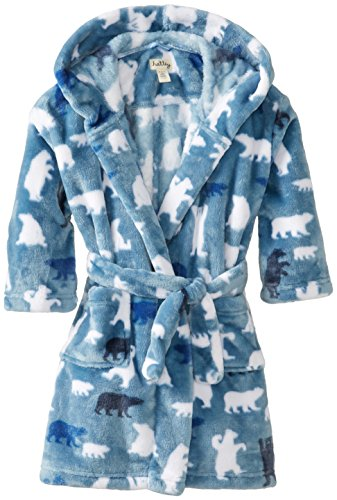 Hatley Little Boys' Fuzzy Fleece Robe Polar Bear Boy, Blue, Small front-942136