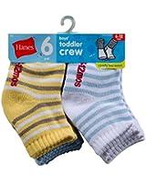 Hanes Toddler Boys Non-Skid Crew Socks 6 pack # 26/6