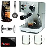 Capresso EC PRO 118.05 Professional Espresso & Cappuccino Machine with Grand Aroma Whole Bean Coffee (8.8oz),Espresso, Coffee Measure, ESPRESSO TAMPER (CD) with 2 pcs 10oz Handy Glass Coffee Mug + $15 Focus Gift Card