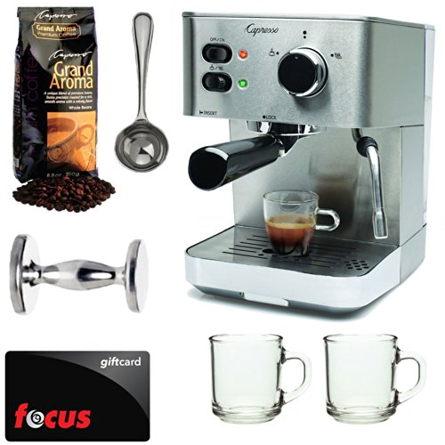Capresso EC PRO 118.05 Professional Espresso & Cappuccino Machine with Grand Aroma Whole Bean Coffee (8.8oz),Espresso, Coffee Measure, ESPRESSO TAMPER (CD) with 2 pcs 10oz Handy Glass Coffee Mug + $15 Focus Gift Card