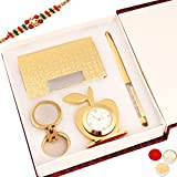 Rakhi Gifts-Crystal Pen With Cardholder, Clock And Keychain-r8