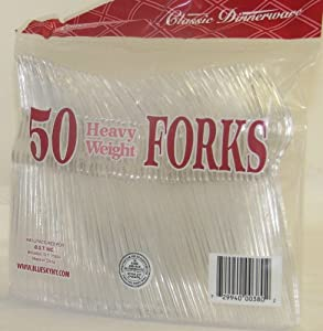 Clear Plastic Forks - Heavy Weight, 50 Pcs. (1 Pack) by KITCHEN COLLECTION