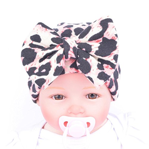buy Tenworld Big Bow Baby Beanie Cap Leopard Newborn Hospital Hat (Pink) for sale