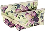 Cosmetic Bags, Makeup, Travel, 100% Cotton, Set Of 2 (Purple Floral)