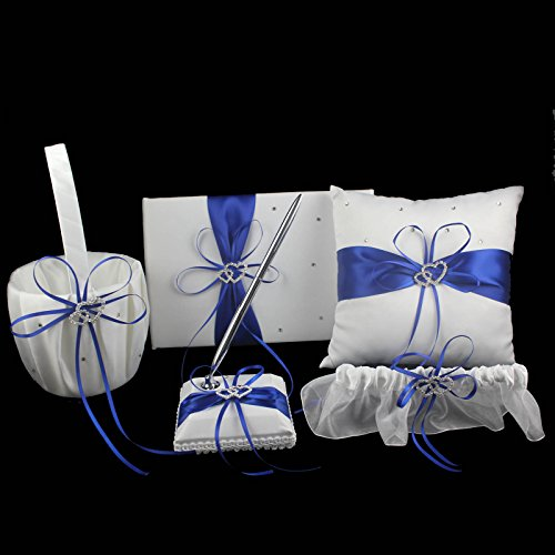 OurWarm 1 Wedding Guest Book + 1 Pen Set + 1 Flower Girl Basket + 1 Ring Bearer Pillow + 1 Garter , White Cover , Decor w/ Royal Blue/Deep Blue Ribbon Bowknot, Double Heart Diamante Crystal Rhinestone Buckle, Rustic,Elegant Wedding Ceremony Party Favor (Flower Girl Basket Blue compare prices)