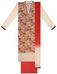 Seema Women's Cotton Unstitched Salwar Suit (Brown & Cream)