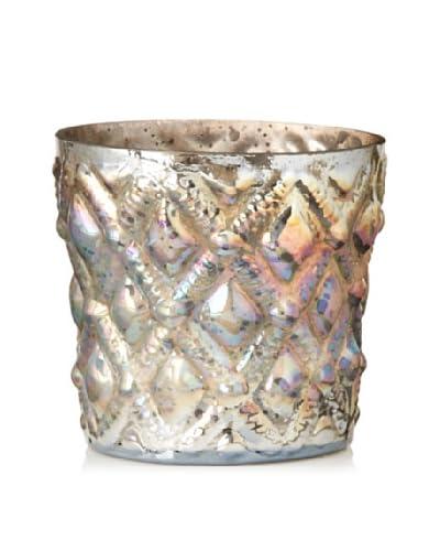 Diamond Checker Glass Votive Holder, Antique Pearl