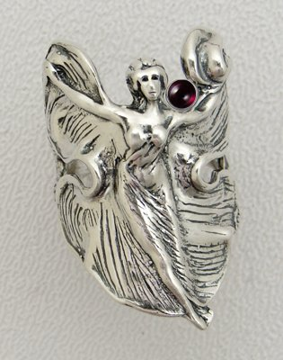 An Delightful Sterling Silver Dancing Goddess Ring Featuring a Genuine Garnet Gemstone