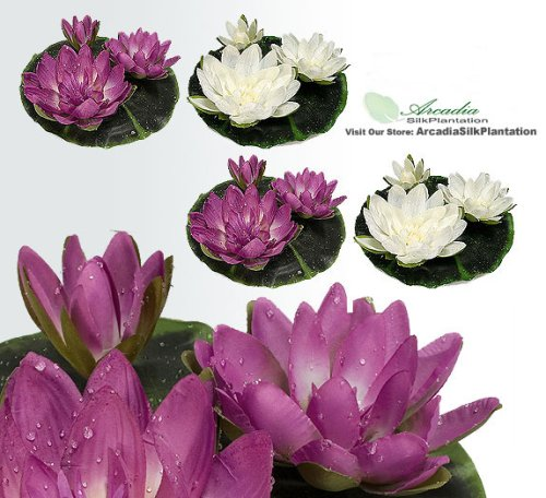 "FOUR 9"" Floating Water Lily Silk Flowers Cream and Fuchsia"