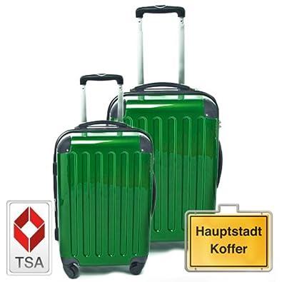 HAUPTSTADTKOFFER Jeu de 2 vert métallique (87Liter/130Liter) étui rigide dans une combinaison de couleurs à haute brillance, TSA serrure à combinaison