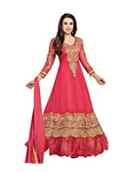 Clickedia Women Faux Georgette (Beautiful Pinkish Red Anarkali Dress- 36000 _Pink _Free Size)