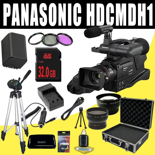 Panasonic HDC-MDH1 AVCHD Camcorder (PAL) + VBG260 Battery/Charger + Filter Kit + 32GB SDHC + Wide Angle/Telephoto Lenses + Pro Hard Case HDMI DavisMAX Pro MASSIVE Kit Bundle