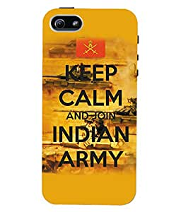 Fuson 3D Printed Indian Army Designer Back Case Cover for Apple iPhone 5S - D907