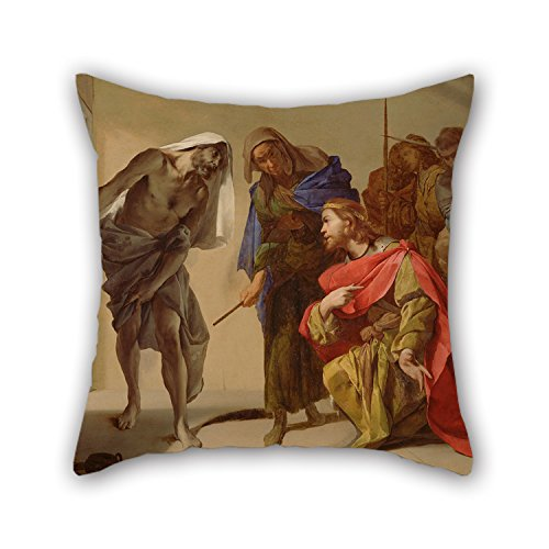 Slimmingpiggy Oil Painting Bernardo Cavallino (Italian - The Shade Of Samuel Invoked By Saul Pillow Covers 18 X 18 Inches