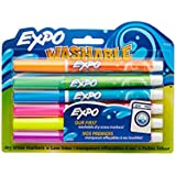 Expo Washable Dry Erase Markers, Fine Point, 6-Pack, Assorted Colors