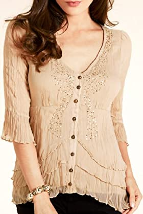 Per Una V-Neck Beaded Bow Blouse [T62-2709H-S]