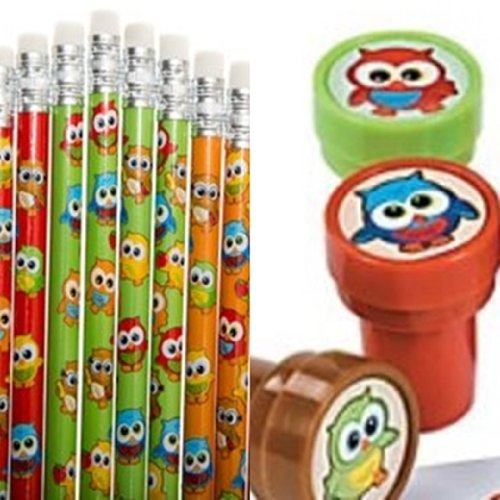 24 Pc Owl Party Favors - Owl Pencils and Owl Stampers Lot