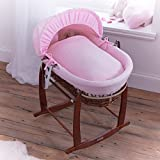 Clair de Lune Cotton Candy Dark Wicker Moses Basket, Pink