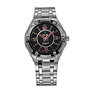 Mens Dress Watch Silver Metal Bracelet Black Dial Red Markers Quartz Movement WH-101