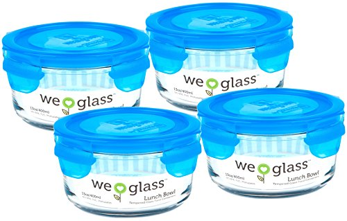 Wean Green Lunch Bowl 13oz/400ml Food Glass Containers - Blueberry (Set of 4)