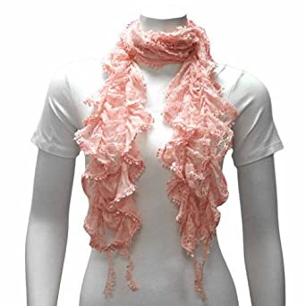 Luxury Divas Pink Ruffled Lace Lightweight Gathered Scarf