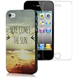 YOKIRIN iPhone 4 4G 4S Hülle PC Hard Case Cover Hier kommt die Sonne Design Vogel Muster Schutzhülle Etui Schale+ 1x Display Schutzfolie Screen Protector