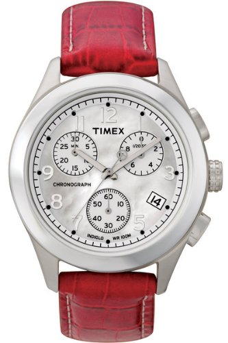 Timex T2M709 T Series Ladies Red Leather Strap Watch