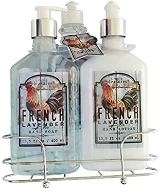 French Lavender 4 Piece Kitchen Caddy Gift Set with Hand Wash, Hand Lotion, Dish Soap and Decorative Wire Caddy