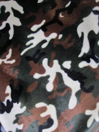 VELBOA FABRIC - ARMY CAMO PRINT FAUX FUR - ONLY $6.49/YARD - SOLD BTY