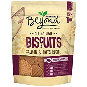 Purina Beyond Natural Grain Free Biscuits Dog Snacks (Salmon & Oats, 9 oz. Pouch - Pack of 1)