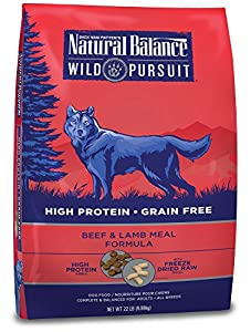 Natural Balance Wild Pursuit Beef & Lamb Meal Formula Dry Dog Food (1 Pack), 22 lb