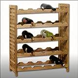Porta bottiglie vino cantinetta in legno di noce 64 x 25 x 74 cm per max.25 bottiglie di vino