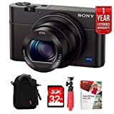 """Sony Cyber-shot DSC-RX100 III 20.2 MP Digital Camera - Black w/32GB Deluxe Bundle Includes, Soft Carrying Case for Digital Cameras +12"""" Rubberized Spider Tripod + 32GB SDHC Memory Card"""