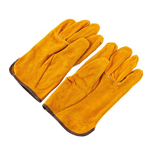 Joyutoy Welding Gloves Lined Leather, Yellow - Heat Resistant Glove With Kevlar Stitching Leather Glove For Mig, Tig Welders, BBQ, Gardening, Camping, Stove, Fireplace (Kevlar Wood Stove Gloves compare prices)