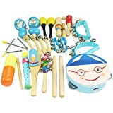 DEHANG 16 Piece Wooden Roll Drum Musical Toy Instruments Kit for Kids Children and Baby Gift Set -Blue