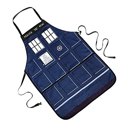 Doctor Who Tardis Apron - Adjustible Strap with 4 Pockets - Take the Tardis into the Kitchen